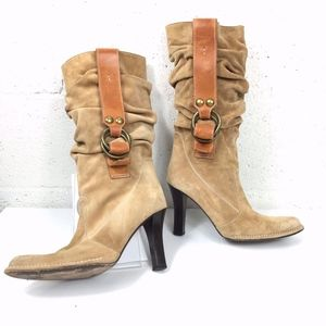 Coach Suede Mid Calf Boots. Pull On. Tan Color